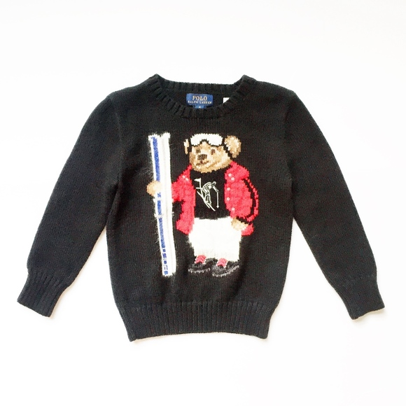 f84e2472aaa RALPH LAUREN TEDDY BEAR polo ski sweater kids 4